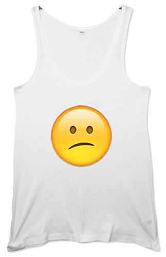 Puzzled Face Emoji Women's Tunic Weste Weiß