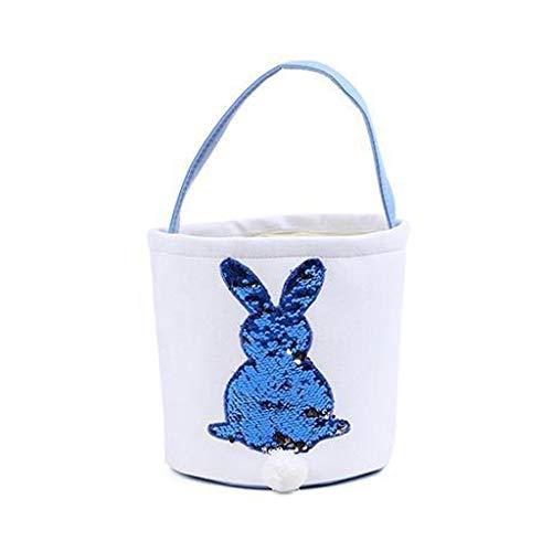 Exing Ostern Korb für Kinder,Osterkorb Kinder Gross,Osterei Bunny Rabbit Printed Canvas Basket Urlaub Kinder Süßigkeiten Tasche (Blau)