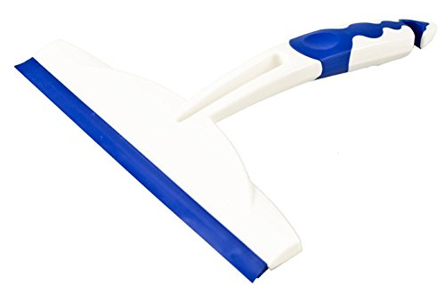 Fenster-/Duschkabinenabzieher, 20 x 20 x 2,5 cm, Weiß/Blau, 2-K-Griff (TPE), Doppelte Abzugslippe
