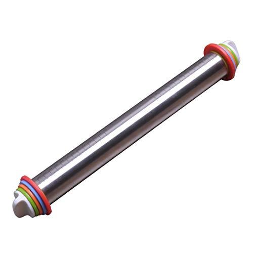DCMIN Nudelholz Teigroller Einstellbares Edelstahl, Verstellbaren Scheiben Ring Rolling Pin für Pizza Pie Kekse (Size : 44cmx4.5cm) (Pin Ringe Rolling)