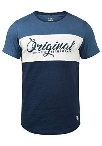 Blau Gestreiftes T-shirt Top (Blend Nero Herren T-Shirt Kurzarm Shirt Print Mit Streifen Und Rundhalsausschnitt, Größe:XL, Farbe:Navy (70230))
