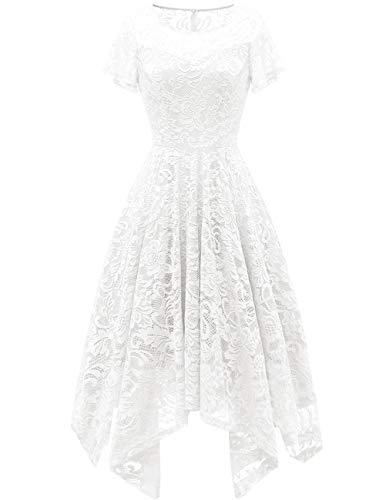 bridesmay Damen Elegant Spitzenkleid Rundhals Unregelmässig Zipfel Kleid Abendkleid Cocktailkleider White S