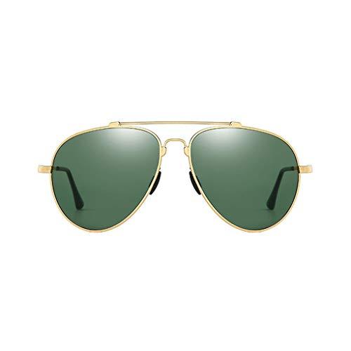 Leluo Aviator Sonnenbrillen Polarisierte Sonnenbrillen Unbreakable Frame Driving Eyewear für Herren und Damen Vintage Eyewear für das Fahren von Reisen (Color : Golden Frame)
