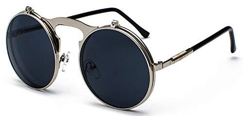Sonnenbrille Runde Klappbare Sonnenbrille Retro Männer Metallrahmen Rote, Gelbe Linse Zubehör Unisex Sun Silber Mit Schwarzen Gläsern Für Frauen
