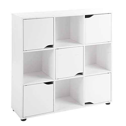 ts-ideen Standregal Bücherregal Sideboard Buchregal Holz Weiß Modern mit Türen