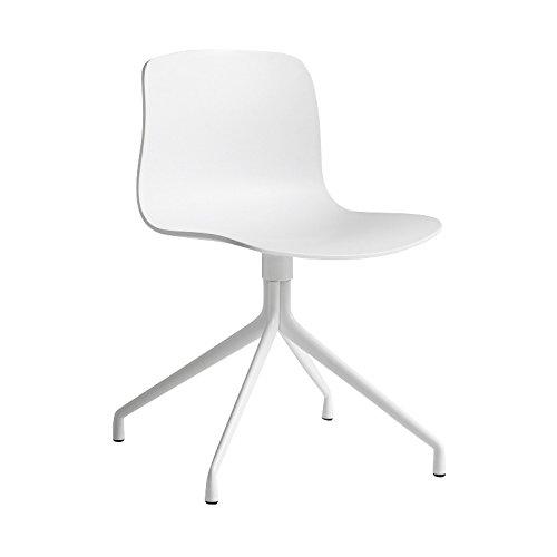 HAY About a Chair 10 Drehstuhl mit Sternfuß, weiß Gestell aluminium pulverbeschichtet weiß mit Kunststoffgleitern