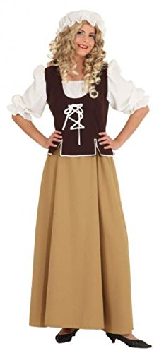 Mädchen Kostüm Polen - O1062-44 braun-beige Damen Mittelalter Magd Kostüm Kleid Gr.44