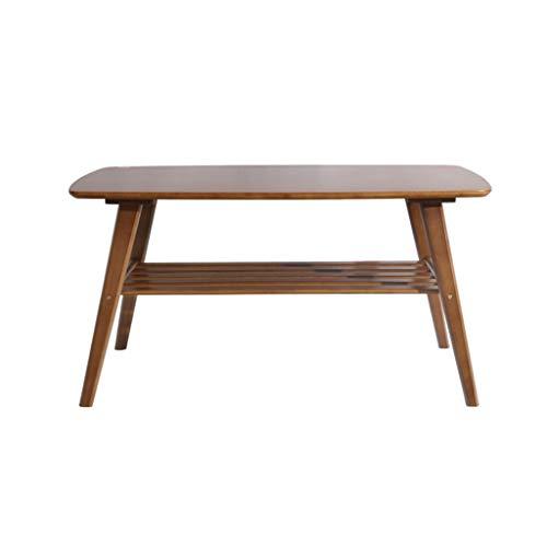 Table basse carrée en bambou avec rangement, petite table japonaise à 2 niveaux pour petit espace, installation facile de la table de thé de salon minimaliste moderne
