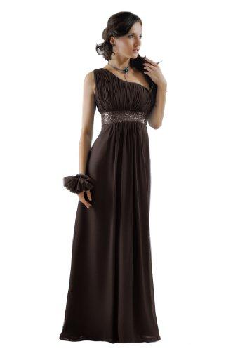 SEXYHER Damen One Shoulder Langes Abend- und Brautjungfern Kleid(Schokolade,UK22,EU48)