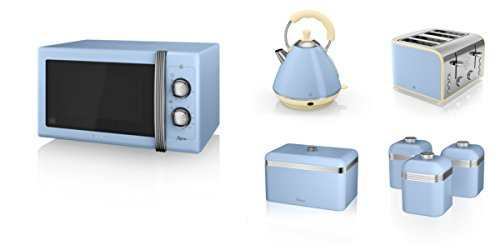 Swan Kitchen Appliance Retro Set - Blue 25l Manual Microwave, 2l Pyramid Kettle, 4 Slice Toaster, Retro Breadbin And 3 Canisters Set