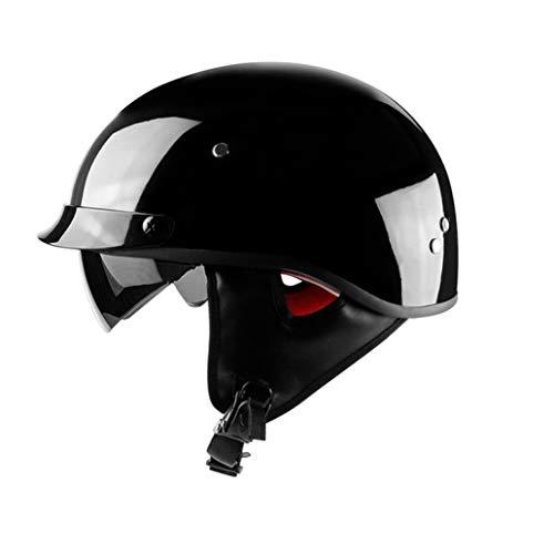OLEEKA Casco mezzo moto retrò con visiera parasole interna Casco moto Harley vintage Dot Dot