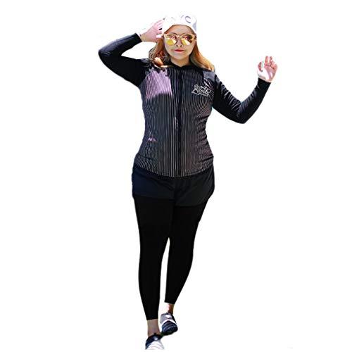 Streifen Neoprenanzug Tauchanzug Frauen Split Typ 5 Stück Set Dünger hinzufügen Große Größe Langarm Reißverschluss Elastische Sonnencreme Schnorcheln Segelboot Badeanzug Schwimmen Kanu weiblich MUMUJI