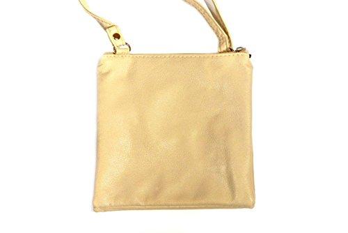 Donna - Borsa a tracolla alla moda - 2 scomparti - S - Pelle sintetica Sabbia