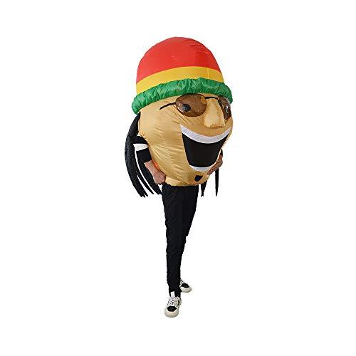 Rasta Kostüm - Original Cup Aufblasbare Jamaikanisches Rasta Kostüm Premium Quality - Kostüm für Erwachsene Größe Polyester Beständig - Mit Inflation System