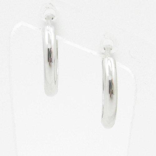 charm-pendants Womens BP54Orecchini a perno italiana, Oro bianco 14K cerchio