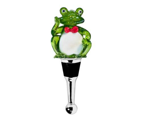 EDZARD Flaschenverschluss Frosch für Champagner, Wein und Sekt, Muranoglas-Technik, 11 cm hoch, Handarbeit