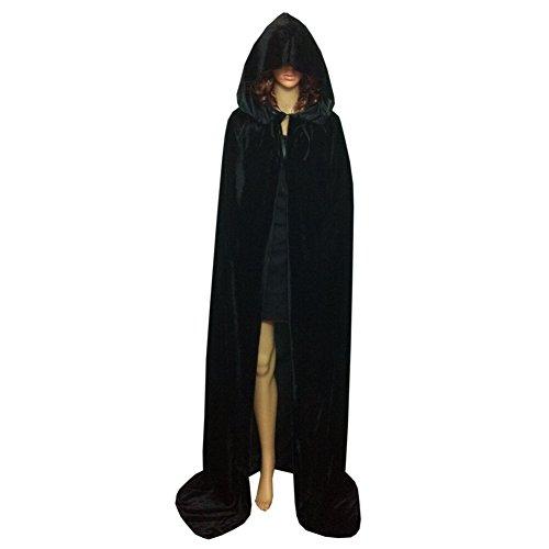 Yalatan Damen Herren Halloween Umhang Mit Kapuze Samt Lange Cape Weihnachtsfeier Kostüme(Schwarz,67 - Deluxe Zauberer Verkleiden Kostüm