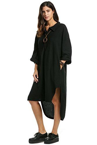 Robe Chemise Femme Casual de Grande Taille Robe Avec Poches Manches Longues Blanc Vin Rouge Noir
