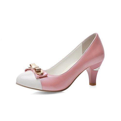 VogueZone009 Damen Mittler Absatz Ziehen Auf Lackleder Rund Zehe Pumps Schuhe Pink