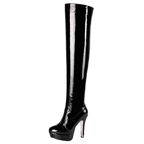 Schwarze Plateau Overknee Stiefel (Artfaerie Damen Blockabsatz Lack Overknee Stiefel Langschaft High Heels Plateau Boots mit Reißverschluss Elegante Schuhe(EU 38,Schwarz))