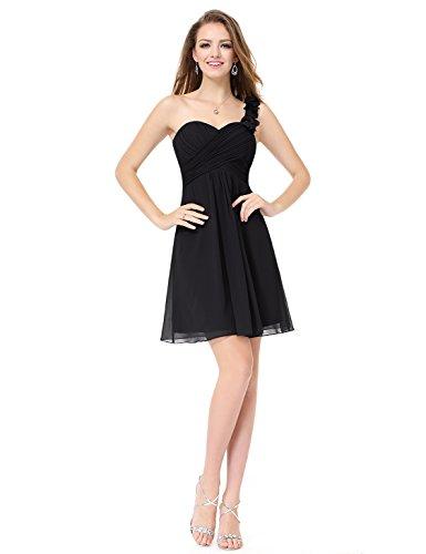 Ever Pretty Robe de Demoiselle d'honneur midi avec une epaulet en forme de fleur 03535 Noir