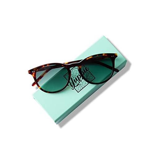 Yuppie Unisex Vintage Sunglasses Ultra Premium Mazzucchelli Acetate, Hand-Finish (Tortoise Deep Jade Lens)