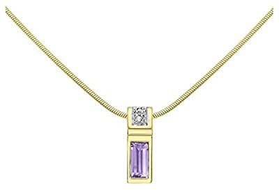 Carissima Gold 9ct Yellow Gold Rectangle Diamond and Amethyst Pendant on Snake Chain of 41cm/16""