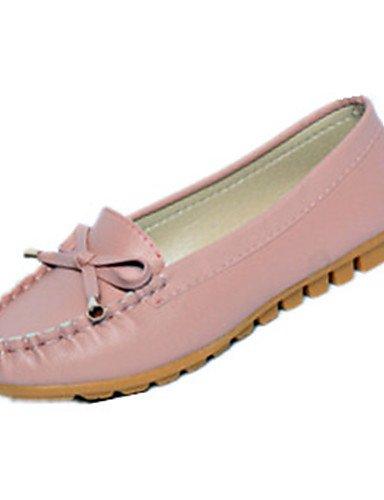XAH@ Chaussures Femme-Extérieure / Bureau & Travail / Habillé / Décontracté-Noir / Rose / Blanc-Talon Plat-Ballerine-Plates-PU pink-us8.5 / eu39 / uk6.5 / cn40