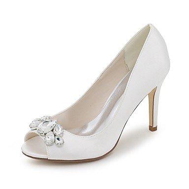 Wuyulunbi@ Scarpe donna raso Primavera Estate della pompa base scarpe matrimonio Stiletto Heel Peep toe strass per la festa di nozze & Sera Argento Rosso Blu Bianco