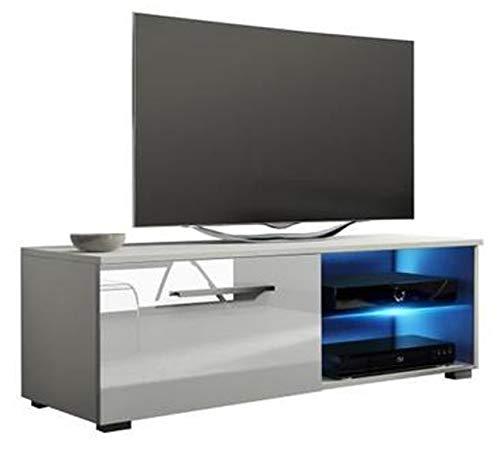 PEGANE Meuble TV Design avec éclairage LED, Coloris Blanc/Blanc Brillant - Dim : 100 x 40 x 36 cm