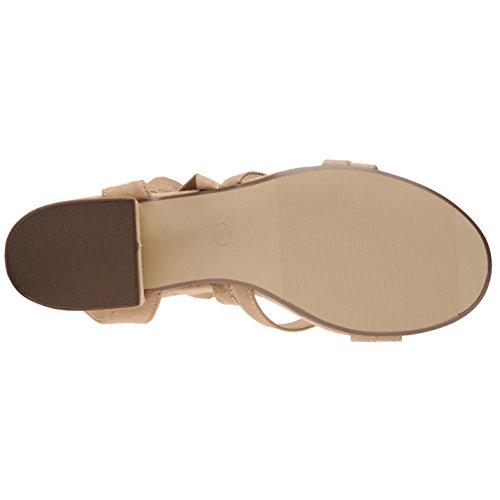 Full Circle Damen Sandalen Sommer Blockabsatz Sandaletten Schnuerung Am Bein Nude