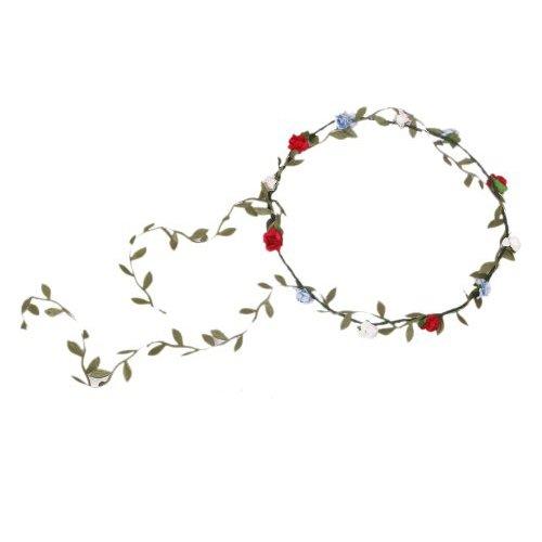 Guirlande Couronne Auréole Florale de Branche de Fleurs Roses pour Festival Mariage Outil de Photographie Taille Adulte (Multicolore)