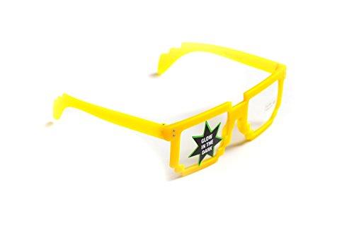 Nick and Ben Pixel-Brille Wayfarer-Stil leuchtet Gelb ohne Sehstärke 15cm Herren Damen Unisex...