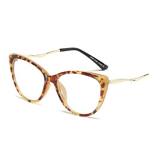 Duhongmei123 Mode Brillen Sommer-Damenmode Cat Eye klare Linsengläser, Metallhandwerk-Tempel. Occhiali (Farbe : Camouflage)