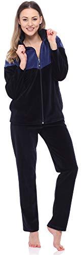 Merry Style Tuta Donna in Velluto MSMG001(Blu Scuro/Bleu Marin, 48)