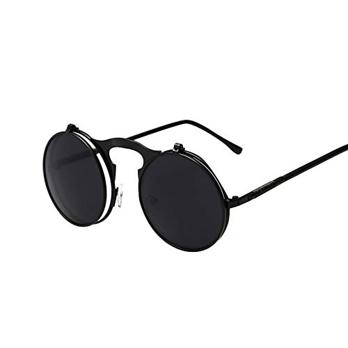 Sonnenbrille Steampunk Sonnenbrille Männer Retro Kleine Klappbare Gläser Für Frauen Double Lens Marke Brillen Uv 400 Schwarz