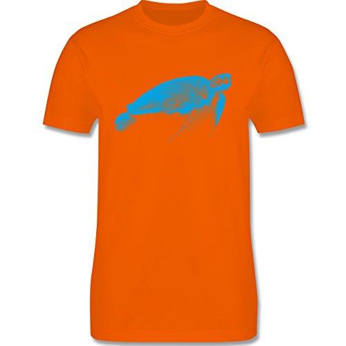 Shirtracer Sonstige Tiere - Wasserschildkröte - Herren T-Shirt Rundhals Orange