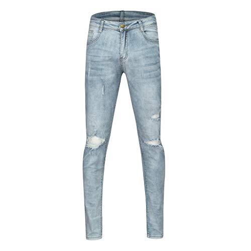 Qiuday Herren Straight Leg Jeans Slim Denim Pants Hose   Lange Jeanshose für Männer Coole Jungen Stretch Freizeithose Cargo Chino Sommer Winter Basic Vintage Style herrenjeans -