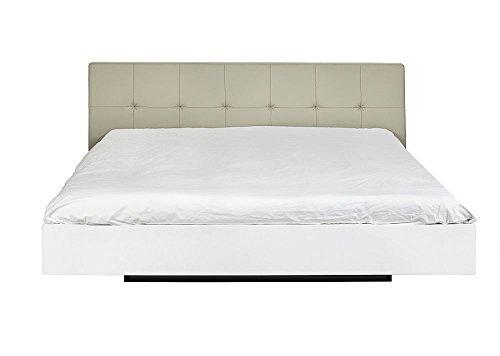Temahome Float Bett, Kunstleder Kopfteil 160 cm Weiß graues Kunstleder