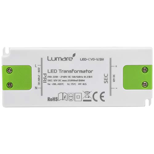 Lumare LED Trafo Slim 230V AC auf 12V DC 30W Leuchtmittel Transformator extra flach Treiber Spannungsstabilisiert (Dc-led-treiber)