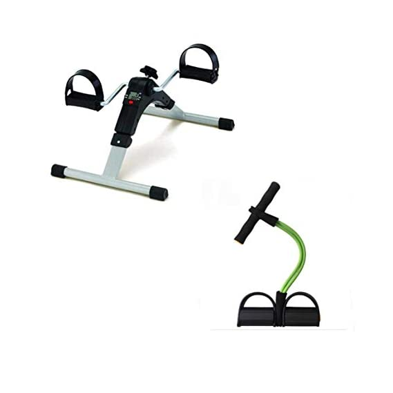 JAMUNESH Combo set for Mini Pedal Exercise Cycle/Bike (with Digital Display of Many Functions) With Pull Reducer Waist Reducer Body Shaper for Reducing Your Waistline and Burn Off Extra Calories Arm Exercise Tummy Fat Burner Toning Tube (pack of 2)
