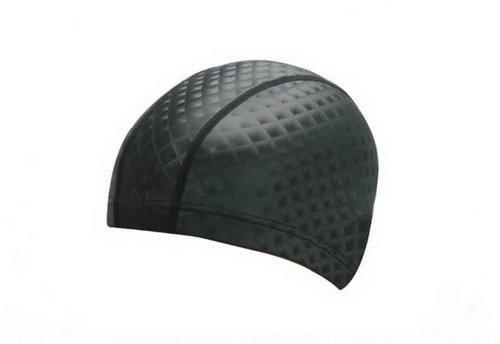 PU Bonnet de bain pour adultes souple Tissu Swim Cap, Noir