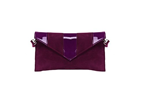 Borsa femme ANNALUNA violet camoscio/vernice busta chic sera MADE IN ITALY N317