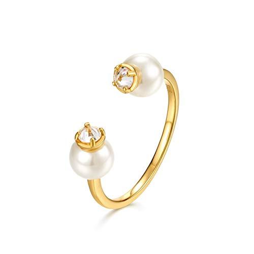 LOUMVE Krone 925Er Sterling Silber Ring Zirkonia Weiß Perle Gold Freundschaftsringe Frauen (Ring Geliebte Halloween-kostüm)