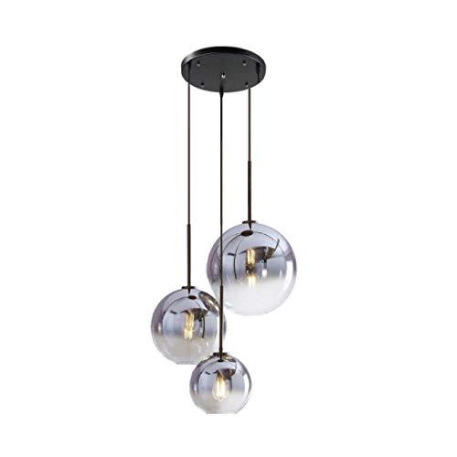 Lustre contemporain design lustre rond table suspension en verre lustre lustre de luxe, lustre combinaison boule de verre, ampoule en verre support E27 spirale, Ø20CM (1 lampe),Argent,20+25+30cm