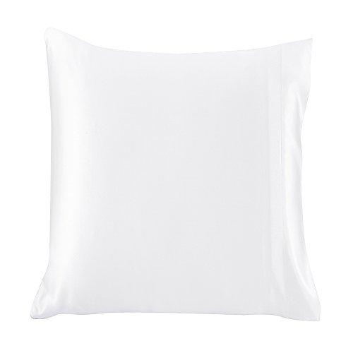 LILYSILK Taie d'oreiller 100% Soie 19MM Doux Confortable Housse d'oreiller Anti-acariens Hypoallergénique Anti-Bactérien 65x65cm Blanc