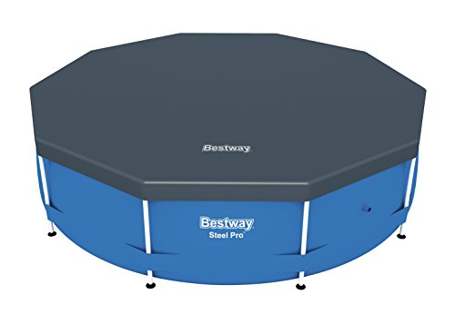 Bestway Flowclear PVC-Abdeckplane Ø305 cm, für Steel Pro Pool und Steel Pro Max Pool, Ø 305 cm, grau