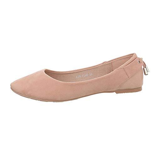 Ital-Design Damenschuhe Ballerinas Klassische Ballerinas Synthetik Rosa Gr. ()
