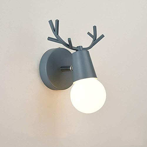 Nordic Schmiedeeisen Wandleuchte, moderne minimalistische Led Holz Lampe Mini Wohnzimmer Studie Schlafzimmer kleine Wandleuchte Ledge Post moderne Korridor Studio Apartment Nachtwand (Farbe: blau -