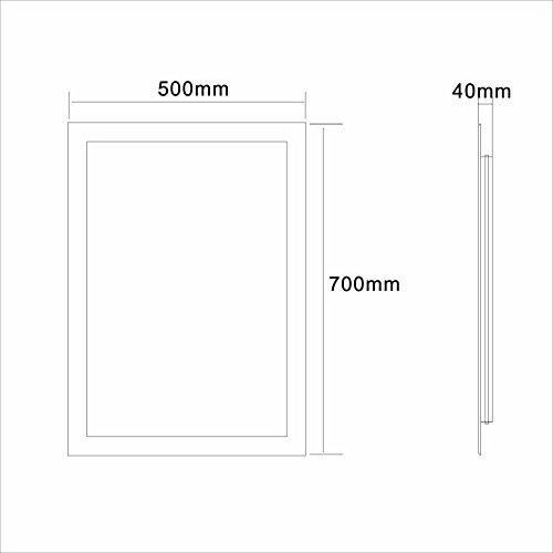 Badspiegel LED Spiegel GS084N mit Beleuchtung durch satinierte Lichtflächen Badezimmerspiegel (50 x 70 cm, kaltweiß) -